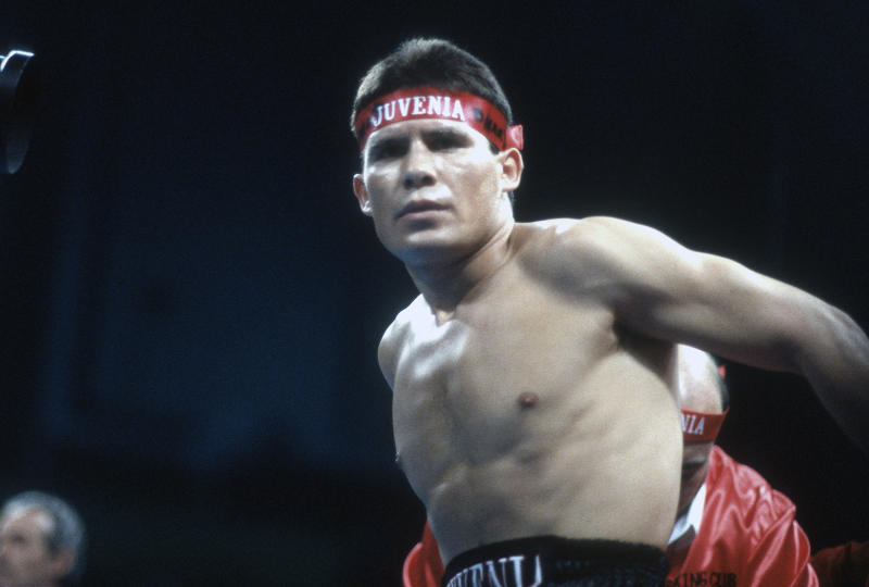 ATLANTIC CITY, NJ - DECEMBER 8: Julio Cesar Chavez steps into the right prior to fighting Kyung-Duk Ahn for the WBC and IBF Light Welterweight titles on December 8, 1990 at the Convention Hall in Atlantic City, New Jersey. Chavez won the fight in third rounds on a TKO. (Photo by Focus on Sport/Getty Images)