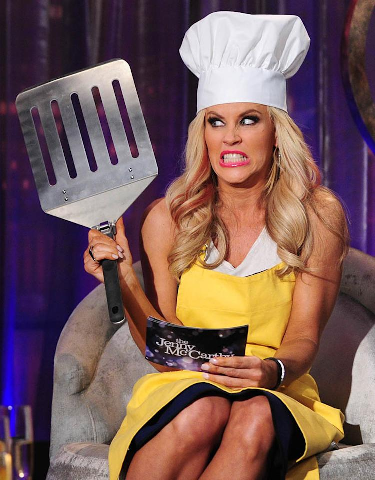 "This is about as close to cooking as you'll ever see Jenny McCarthy get! The 40-year-old came prepared with props for her interview with ""Real Housewives of New Jersey"" cast member Jacqueline Laurita on her VH1 series ""The Jenny McCarthy Show."" (5/22/2013)"