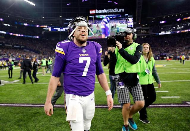 Quarterback Case Keenum of the Minnesota Vikings walks off the field after the Vikings defeated the New Orleans Saints 29-24 to win the NFC divisional round playoff game, at US Bank Stadium in Minneapolis, Minnesota, on January 14, 2018 (AFP Photo/JAMIE SQUIRE)