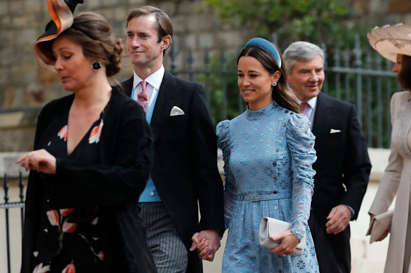 James Matthews (2nd left) and his wife Pippa (3rd left) arrive for the wedding of Lady Gabriella Windsor and Thomas Kingston at St George's Chapel, Windsor Castle on May 18, 2019 in Windsor, England.