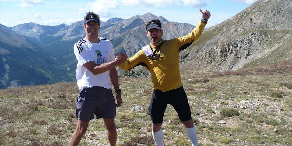 Photo credit: Roy Wallack (right) with Gordon Wright during the 2008 TransRockies Run. Courtesy Gordon Wright