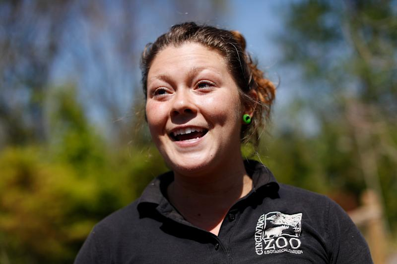 Zookeeper Jenna Wingate speaks during an interview about Fiona  - Credit: AP Photo/John Minchillo