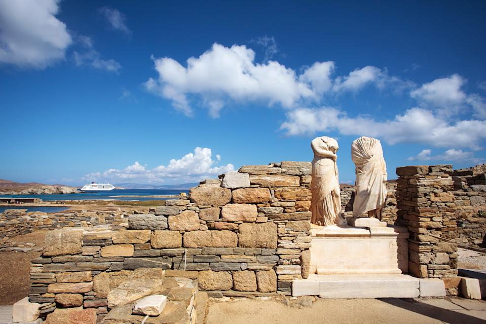 Ruins of the Cleopatra House in Delos, Greece. Heritage sites around the world are under threat due to conditions created by climate change. Increased risk for floods or fire put some of the world's most famous monuments and locations in jeopardy. (Getty)