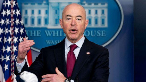 PHOTO: In this Monday, March 1, 2021 file photo, Homeland Security Secretary Alejandro Mayorkas speaks during a press briefing at the White House in Washington.  (Andrew Harnik/AP, FILE)