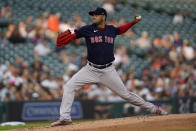 Boston Red Sox pitcher Eduardo Rodriguez throws against the Detroit Tigers in the first inning of a baseball game in Detroit, Wednesday, Aug. 4, 2021. (AP Photo/Paul Sancya)