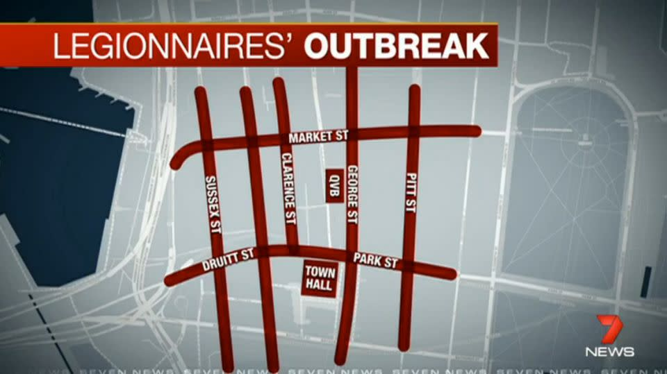 The outbreak has been linked to Sydney's CBD, and in particular, the Town Hall area. Photo: 7News