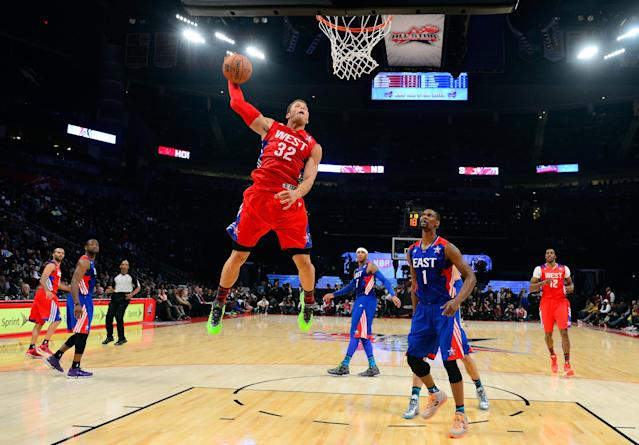 HOUSTON, TX - FEBRUARY 17: Blake Griffin #32 of the Los Angeles Clippers and the Western Conference goes up for the dunk in the first half during the 2013 NBA All-Star game at the Toyota Center on February 17, 2013 in Houston, Texas. NOTE TO USER: User expressly acknowledges and agrees that, by downloading and or using this photograph, User is consenting to the terms and conditions of the Getty Images License Agreement. (Photo by Bob Donnan/Pool/Getty Images)