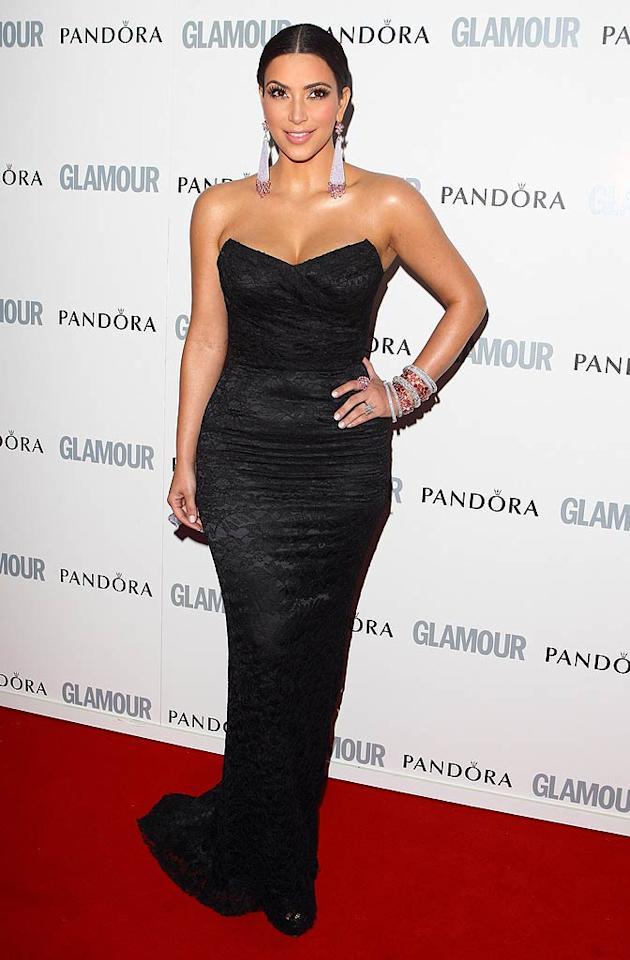 """Kim Kardashian flew all the way to England to make sure she didn't miss a trip down the red carpet. The newly engaged reality star attended the <i>Glamour</i> Women of the Year Awards at Berkeley Square Gardens in London on Tuesday night. Mike Marsland/<a href=""""http://www.wireimage.com"""" target=""""new"""">WireImage.com</a> - June 7, 2011"""