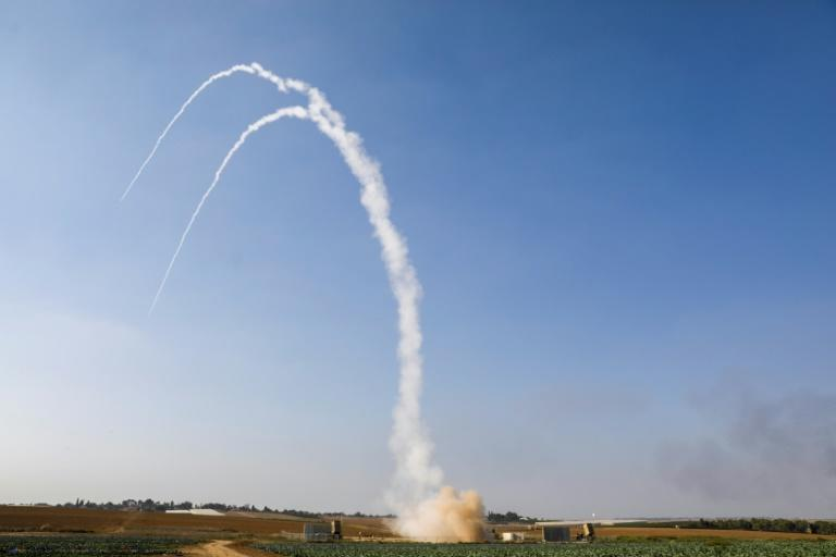 An Israeli missile is launched from the Iron Dome defence missile system, designed to intercept and destroy incoming short-range rockets and artillery shells