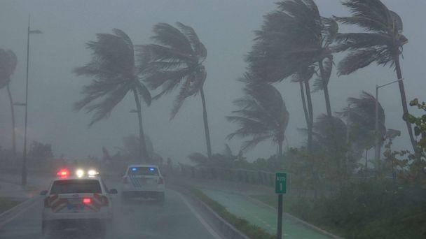 PHOTO: Police patrol the area as Hurricane Irma slams across islands in the northern Caribbean on Wednesday, in San Juan, Puerto Rico Sept. 6, 2017. (Alvin Baez/Reuters)