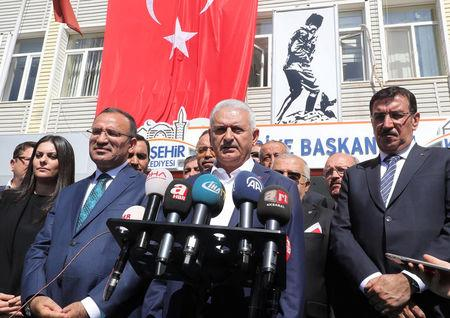 Turkish Prime Minister Binali Yildirim speaks to media in Kirsehir
