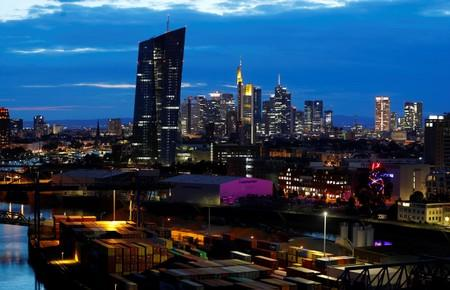 The skyline with its banking district and the European Central Bank (ECB) is photographed in Frankfurt