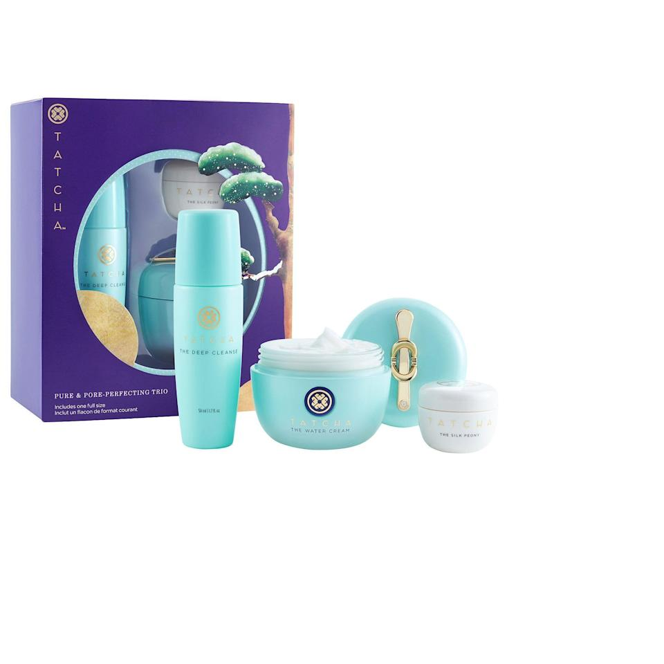 "<p><strong>Tatcha</strong></p><p>sephora.com</p><p><strong>$72.00</strong></p><p><a href=""https://go.redirectingat.com?id=74968X1596630&url=https%3A%2F%2Fwww.sephora.com%2Fproduct%2Ftatcha-pure-pore-perfecting-trio-P460832&sref=https%3A%2F%2Fwww.redbookmag.com%2Fbeauty%2Fg34587516%2Fsephora-beauty-gifts%2F"" rel=""nofollow noopener"" target=""_blank"" data-ylk=""slk:Shop Now"" class=""link rapid-noclick-resp"">Shop Now</a></p><p>Skincare fanatics will love this Tatcha gift set, which is a three-step ritual for cleansing and hydrating. Tatcha products are gentle and effective, not to mention cruelty-free and very aesthetically pleasing. </p>"