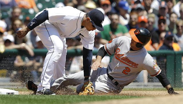Baltimore Orioles' J.J. Hardy (2) slides safely into third base under the tag of Detroit Tigers third baseman Miguel Cabrera in the fourth inning of a baseball game in Detroit, Wednesday, June 19, 2013. (AP Photo/Paul Sancya)