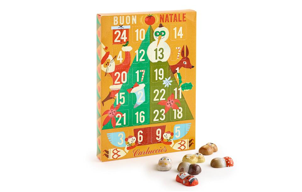 """<p>The Italian restaurant chain has released a cute calendar filled with Christmas-themed chocolates.<br><a rel=""""nofollow noopener"""" href=""""https://www.carluccios.com/shop-online"""" target=""""_blank"""" data-ylk=""""slk:Carluccio's, £9.95"""" class=""""link rapid-noclick-resp""""><i>Carluccio's, £9.95</i></a> </p>"""