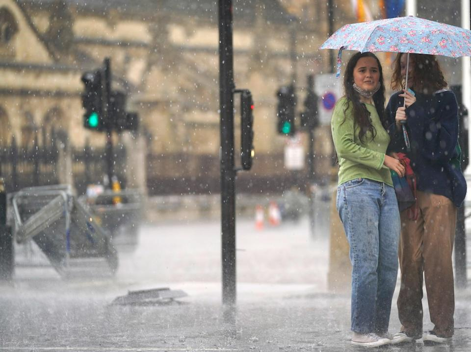 Torrential rain hammered London on Sunday, causing serious flooding in many places (PA)