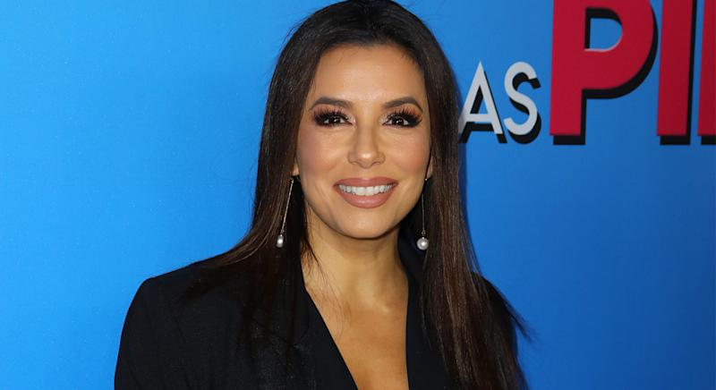 Eva Longoria, pictured at the premiere of Las Pildoras De Mi Novio in LA in February 2020r, reveals her secret to covering her grey roots. (Getty Images)