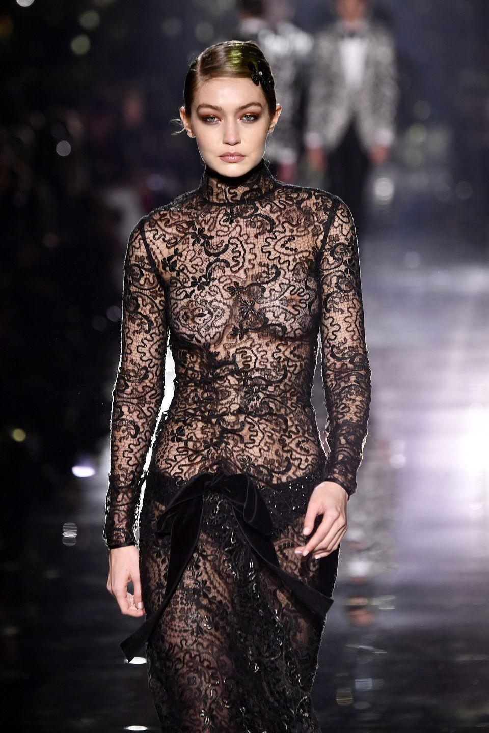 <p>A little high-fashion nipple is always the cherry on top of a good Fashion Week and this season, Gigi Hadid really supplied. The supermodel looked gorgeous and confident in an elegant lace gown at the Tom Ford show in LA. </p>