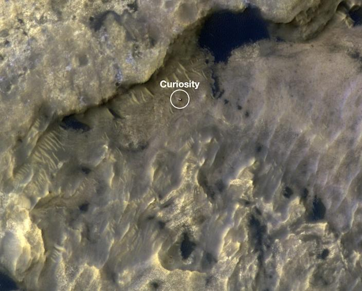 "An animation shows the position of the Curiosity rover as it journeyed 1,106 feet (337 meters) through an area of Mount Sharp between May 31 and July 20, 2019. <p class=""copyright"">NASA/JPL-Caltech/University of Arizona</p>"