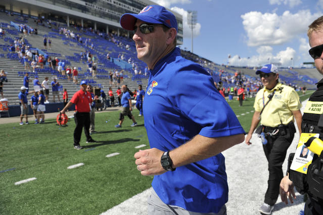 David Beaty was fired in 2018 after compiling a 6-42 record over four seasons with the Jayhawks. (Ed Zurga/Getty Images)