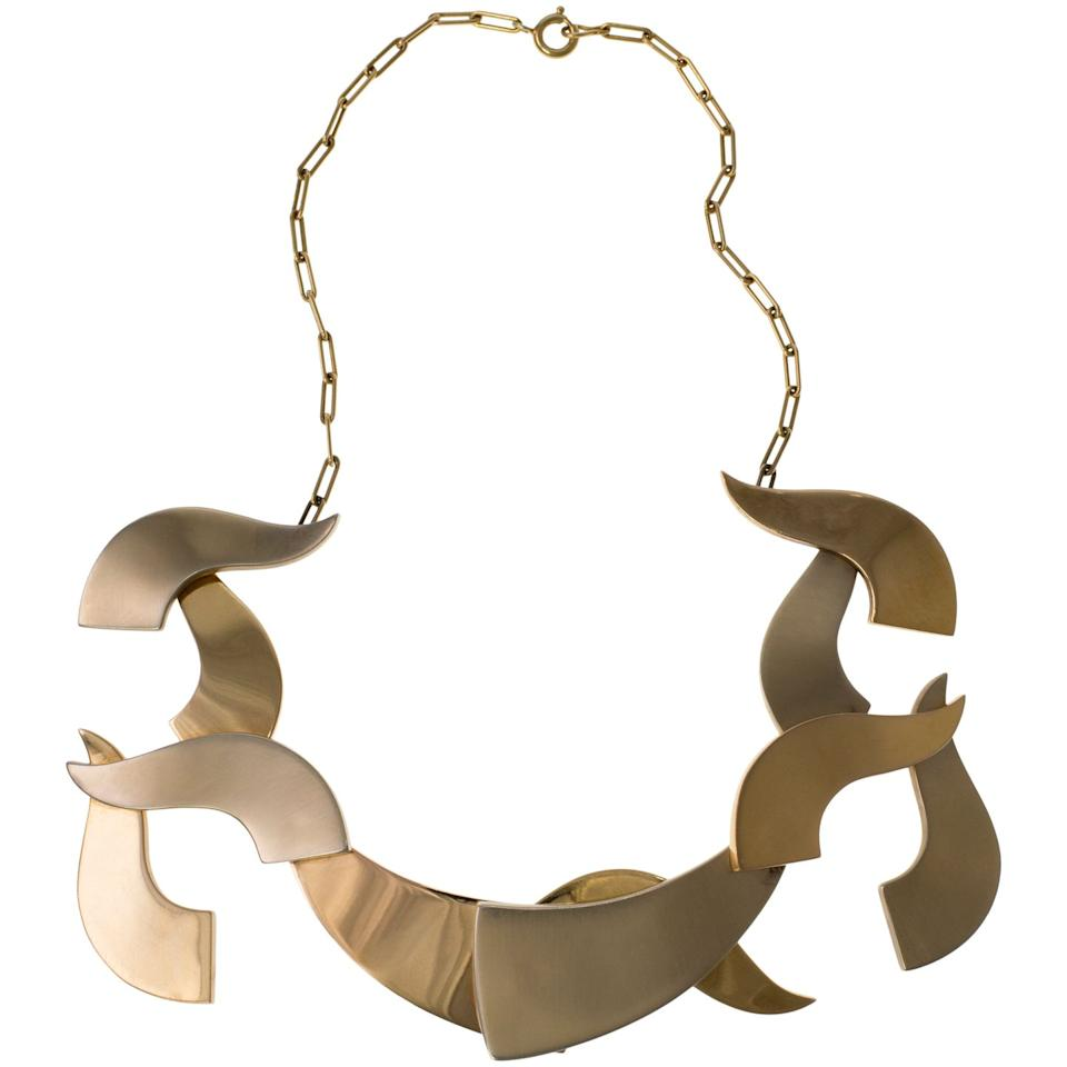 """<p>Not for the faint-hearted or unoriginal, this sculptural gold necklace was made by an artist and jeweler— Richter was a founder of the Dada movement.<a class=""""body-btn-link"""" href=""""https://www.1stdibs.com/jewelry/necklaces/more-necklaces/1967-art-jewel-hans-richter-gold-articulated-necklace/id-j_5013123/"""" target=""""_blank"""">SHOP NOW</a></p>"""