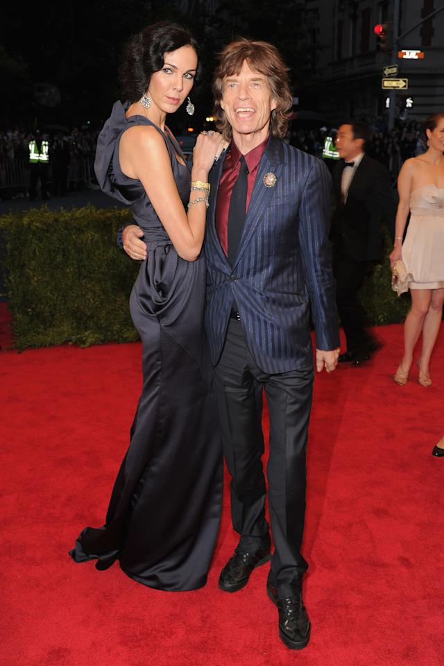 "NEW YORK, NY - MAY 07:  L'Wren Scott and Mick Jagger attend the ""Schiaparelli And Prada: Impossible Conversations"" Costume Institute Gala at the Metropolitan Museum of Art on May 7, 2012 in New York City.  (Photo by Larry Busacca/Getty Images)"