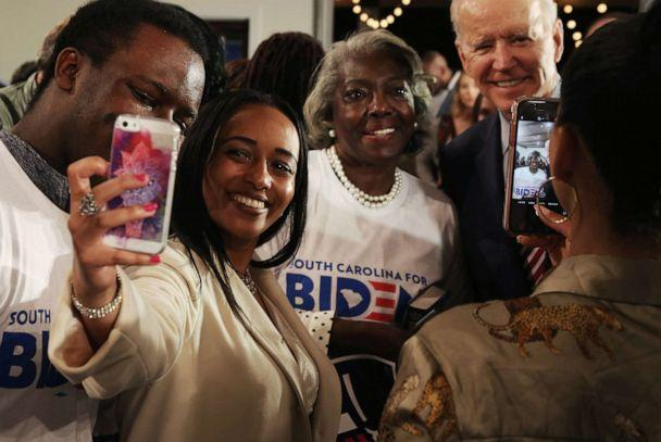 PHOTO: Supporters take selfies with Democratic presidential candidate and former Vice President Joe Biden at a campaign event in Columbia, S.C. on Feb. 11, 2020. (Travis Dove/The New York Times via Redux )