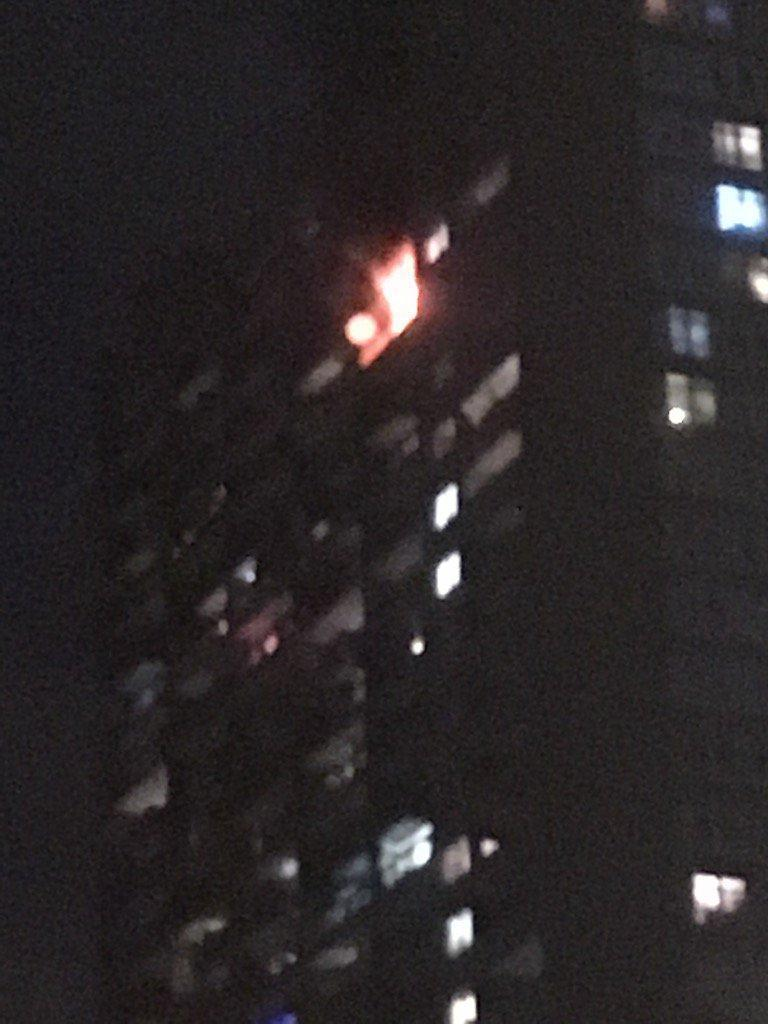 The fire broke out at about 9.20pm on Wednesday night (@karenspencer_/Twitter)