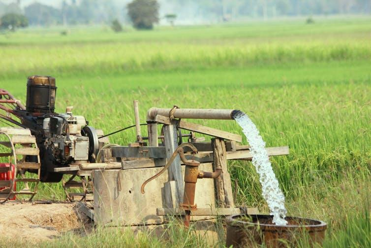 """<span class=""""caption"""">Groundwater is critical to agriculture worldwide.</span> <span class=""""attribution""""><a class=""""link rapid-noclick-resp"""" href=""""https://www.shutterstock.com/image-photo/groundwater-pumps-use-farming-1051336970?src=YVtP0gMNV9-SotpAw7eh4g-1-18"""" rel=""""nofollow noopener"""" target=""""_blank"""" data-ylk=""""slk:Rungroj Youbang/Shutterstock"""">Rungroj Youbang/Shutterstock</a></span>"""