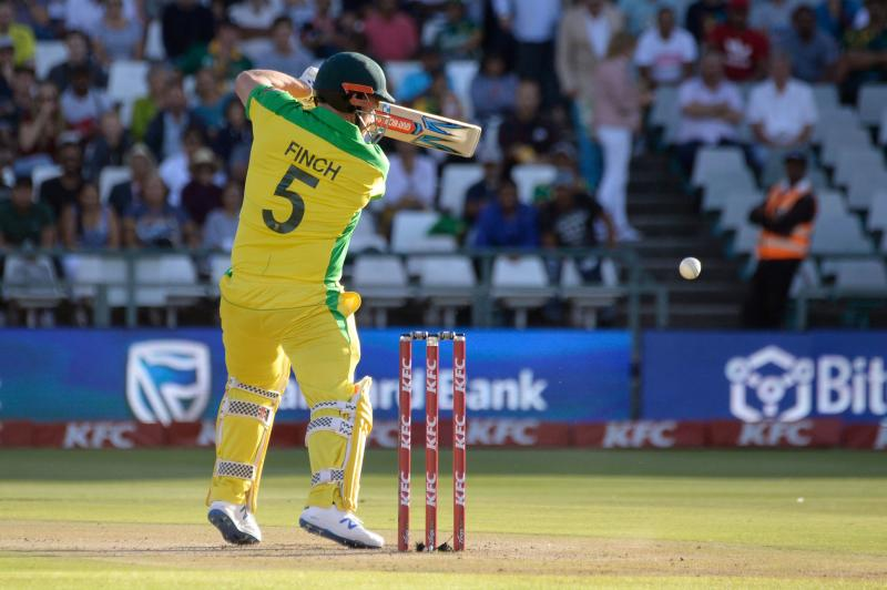 Australia's Aaron Finch bats during the third and final T20 international cricket match between South Africa and Australia at Newlands Cricket Stadium in Cape Town, on February 26, 2020.