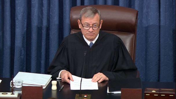 PHOTO: Supreme Court Chief Justice John Roberts speaks during the impeachment trial against President Donald Trump in the Senate at the U.S. Capitol in Washington, D.C., Jan. 21, 2020. (ABC News)