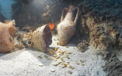 Gold coins found on the ocean floor in Turkey by divers.