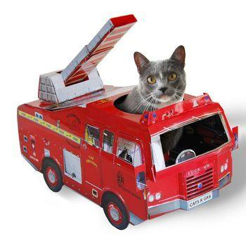 """<p>Cats are well known for preferring to play in the box rather than with the toy that arrived in it. This fire engine playhouse gives your cat a box to curl up in with a fun exterior to entertain you and your Instagram following. <i>(Photo: <a href=""""http://www.notonthehighstreet.com/suckuk/product/cat-playhouses"""" target=""""_blank"""">Not on the High Street</a>)</i></p>"""