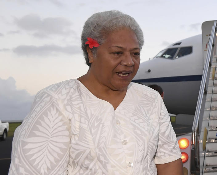 Samoa's Deputy Prime Minister Fiame Naomi Mata'afa arrives at Faleolo Airport in Apia, Samoa, on Sept. 8, 2017. Samoa appeared set to get its first woman leader after the nation's top court on Monday, May 17, 2021 reinstated the results of a knife-edge election last month. Two decisions by the Supreme Court have paved the way for Mata'afa to become prime minister of the small island nation. (Lukas Coch/AAP Image)