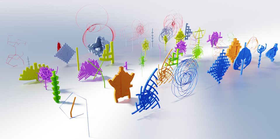 A nursery of objects generated from the same seed, demonstrating its randomness (Mark Price)