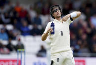England captain Joe Root gestures towards his teammates during the second day of third test cricket match between England and India, at Headingley cricket ground in Leeds, England, Thursday, Aug. 26, 2021. (AP Photo/Jon Super)