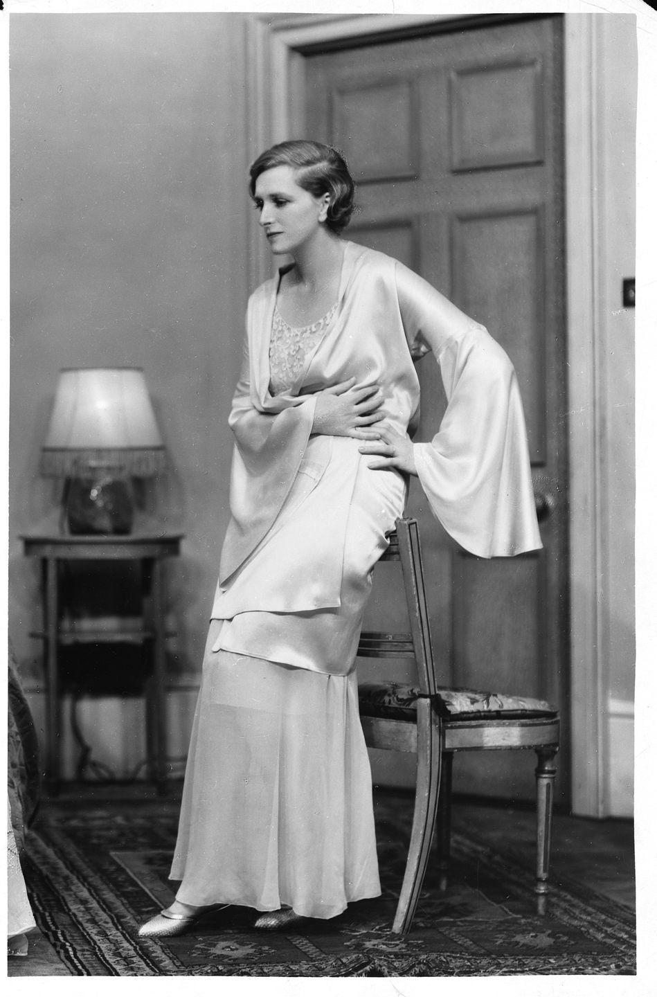 <p>Cooper reprised her role as Clemency Warlock in Cynara for 250 performances, with this sophisticated night gown and bell-sleeved robe making for a memorable ensemble from British fashion designer Edward Molyneux, who dressed royals and other 20th century style icons—and whose proteges include Christian Dior and Pierre Balmain. </p>