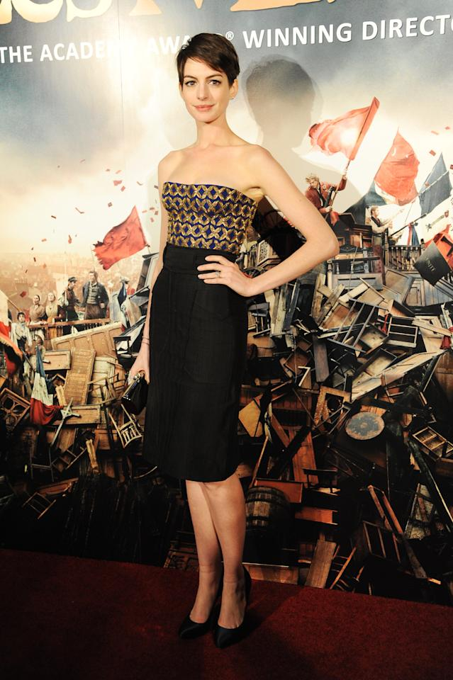 Anne Hathaway attends the world premiere after party for Les Miserables at The Odeon Leicester Square on December 5, 2012 in London, England.  (Photo by Dave J Hogan/Getty Images)