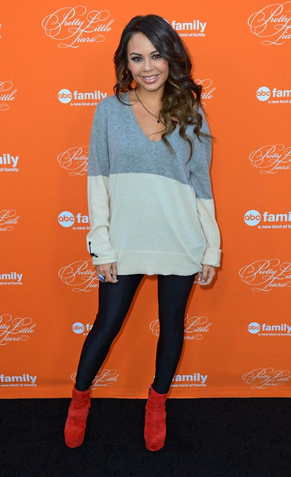 """Janel Parrish arrives at the screening of ABC Family's """"Pretty Little Liars"""" Special Halloween Episode at Hollywood Forever Cemetery on October 16, 2012 in Hollywood, California."""