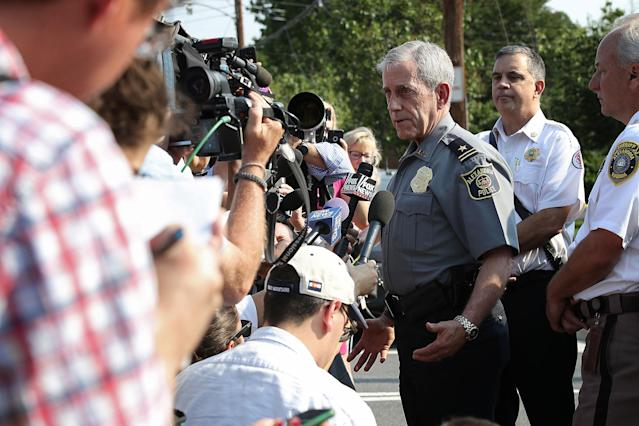 <p>AMichael Brown, Alexandria Chief of Police, briefs members of the press near Eugene Simpson Field, the site where a gunman opened fire June 14, 2017 in Alexandria, Va. (Photo: Win McNamee/Getty Images) </p>