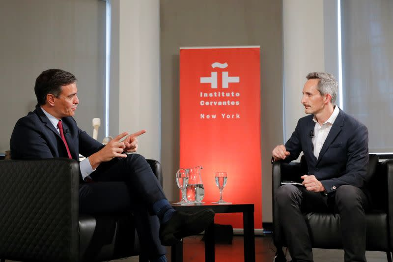 Prime Minister of Spain Pedro Sanchez speaks with Reuters Breakingviews U.S. Editor John Sinclair Foley during a Reuters NEXT Newsmaker event at Instituto Cervantes in Manhattan, New York City