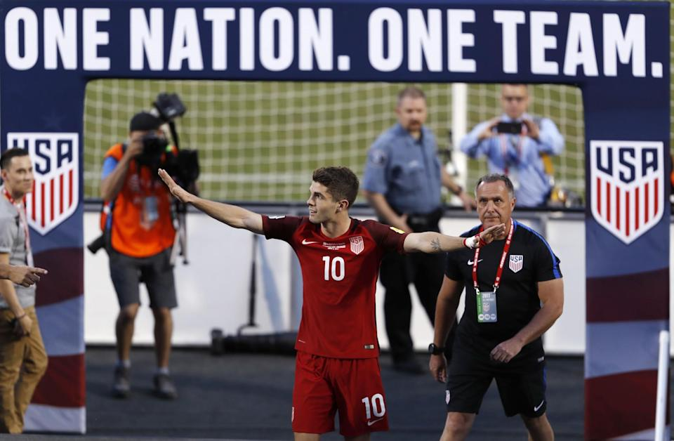 Christian Pulisic scored both goals in the U.S. men's soccer team's 2-0 win over Trinidad & Tobago in a World Cup qualifier Thursday night.