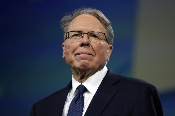 FILE- In this April 26, 2019, file photo NRA executive vice president and CEO Wayne LaPierre attends the National Rifle Association annual convention in Indianapolis. LaPierre, the embattled leader of the National Rifle Association, said Wednesday, April 7, 2021, that he put the powerful gun-rights group into bankruptcy without first informing most of its board members and top officials. (AP Photo/Evan Vucci, File)