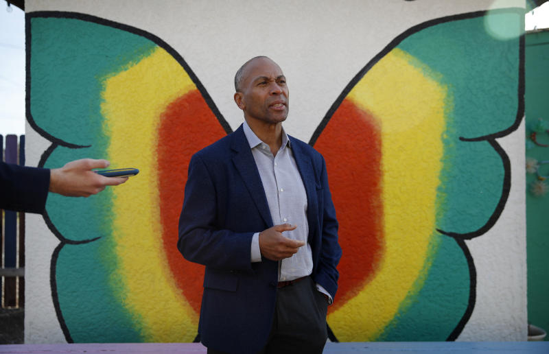Democratic presidential candidate former Massachusetts Gov. Deval Patrick speaks with the media after touring a community garden Tuesday, Dec. 17, 2019, in Las Vegas. (AP Photo/John Locher)