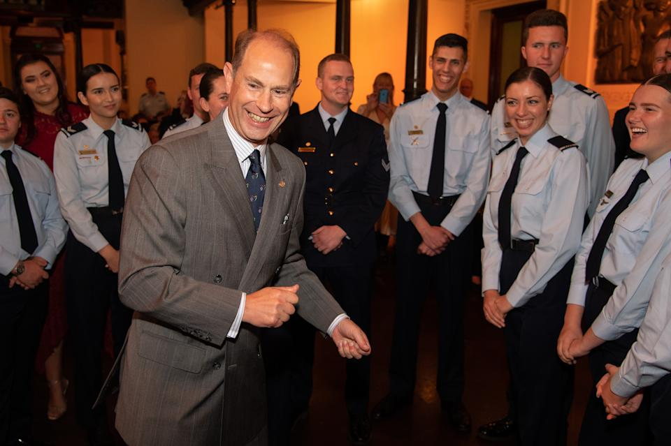 SYDNEY, AUSTRALIA - SEPTEMBER 13: Prince Edward, Earl of Essex speaking to Duke of Edinburgh's International Gold Award Recipients at Sydney Town Hall on September 13, 2019 in Sydney, Australia. It is the largest of The Duke of Edinburgh's International Gold Award Ceremonies ever to take place outside the UK and is part of a series of events taking place to celebrate the 60th Anniversary of The Duke of Edinburgh's International Award in Australia. (Photo by James Gourley/Getty Images)