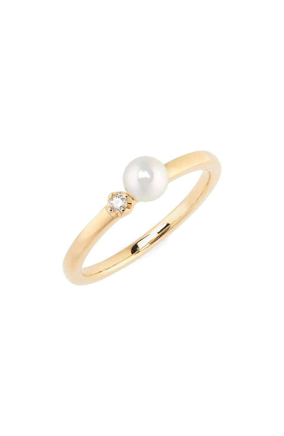 "<br><br><strong>Mikimoto</strong> Cultured Pearl & Diamond Ring, $, available at <a href=""https://go.skimresources.com/?id=30283X879131&url=https%3A%2F%2Fwww.nordstrom.com%2Fs%2Fmikimoto-cultured-pearl-diamond-ring%2F5645993%3Forigin%3Dcategory-personalizedsort%26breadcrumb%3DHome%252FBrands%252FMikimoto%252FWomen%252FJewelry%26color%3Dyellow%2520gold"" rel=""nofollow noopener"" target=""_blank"" data-ylk=""slk:Nordstrom"" class=""link rapid-noclick-resp"">Nordstrom</a>"