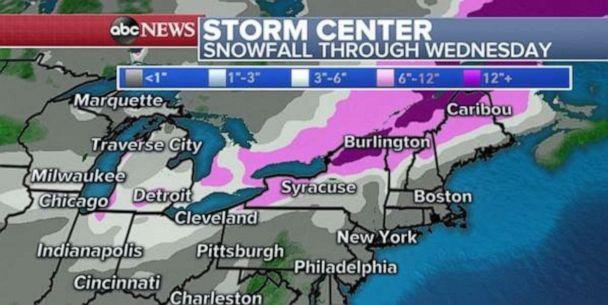 PHOTO: A wide swath of snow will stretch from Arkansas to Maine, with the heaviest into parts of Ohio, Kentucky, and Western New York. (ABC News)