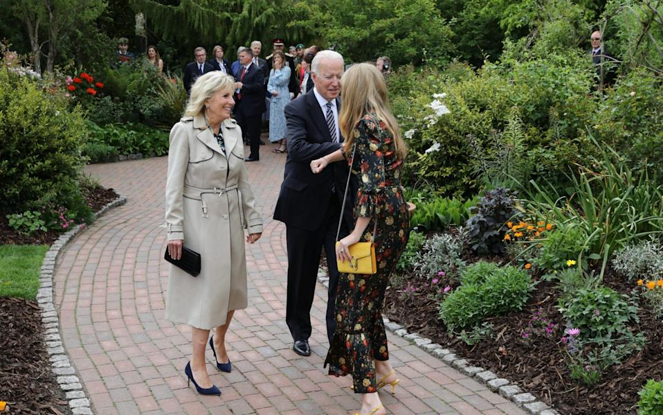 US President Joe Biden and First Lady Dr Jill Biden arrive at Cornwall's Eden Project for a G7 reception hosted by the Queen on June 11 2021 - Jack Hill/The Times