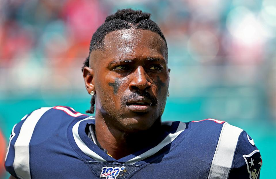 New England Patriots wide receiver Antonio Brown looks on before the start of a game against the Miami Dolphins at Hard Rock Stadium in Miami Gardens, Fla., on September 15 2019. (David Santiago/Miami Herald/Tribune News Service via Getty Images)