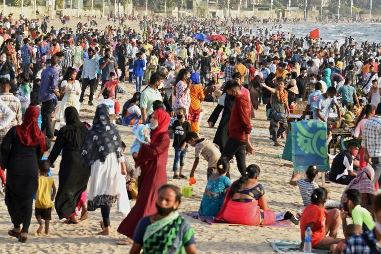 Beaches are crowded in Mumbai, the capital of India's worst-hit state as the country struggles with a new wave of infections